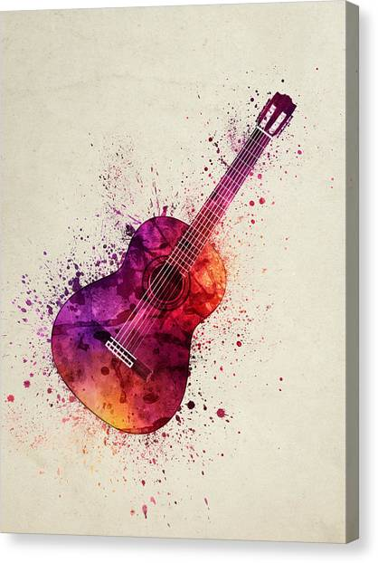 Acoustic Guitars Canvas Print - Colorful Acoustic Guitar 03 by Aged Pixel