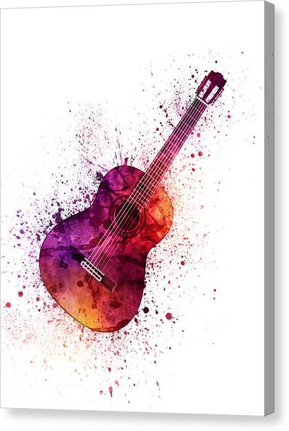 Acoustic Guitars Canvas Print - Colorful Acoustic Guitar 04 by Aged Pixel