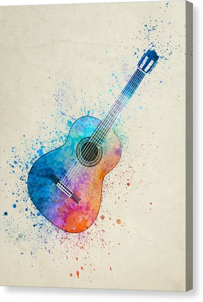 Acoustic Guitars Canvas Print - Colorful Acoustic Guitar 05 by Aged Pixel
