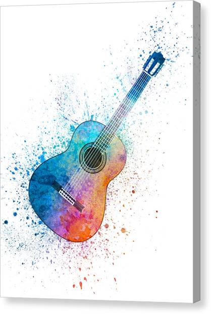 Acoustic Guitars Canvas Print - Colorful Acoustic Guitar 06 by Aged Pixel