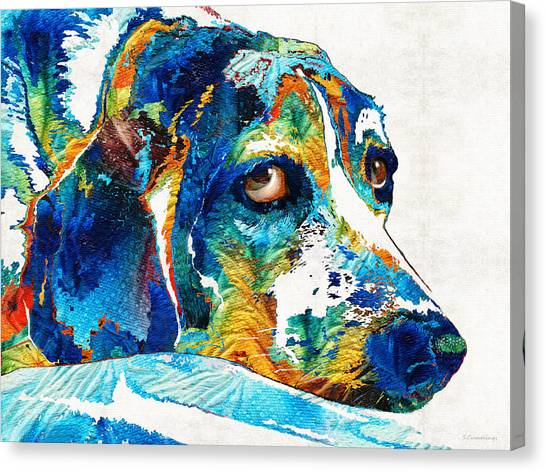 Beagles Canvas Print - Colorful Beagle Dog Art By Sharon Cummings by Sharon Cummings