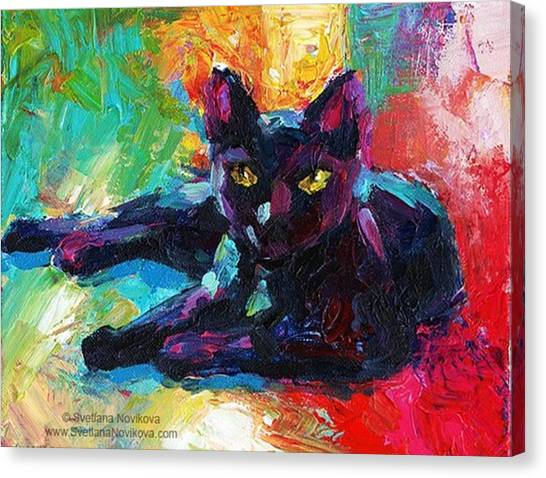 Animal Canvas Print - Colorful Black Cat Painting By Svetlana by Svetlana Novikova