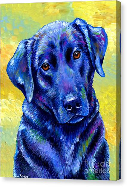 Colorful Black Labrador Retriever Dog Canvas Print