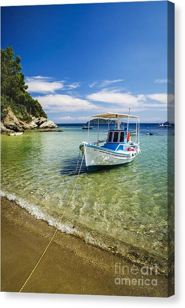Greece Canvas Print - Colorful Boat by Jelena Jovanovic