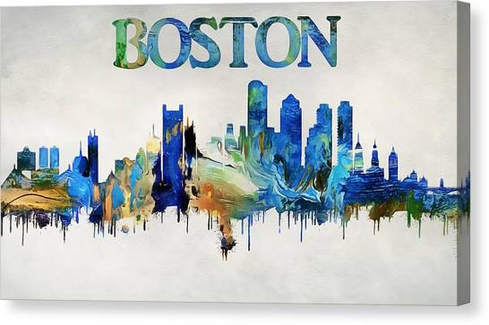 Fenway Park Canvas Print - Colorful Boston Skyline by Dan Sproul
