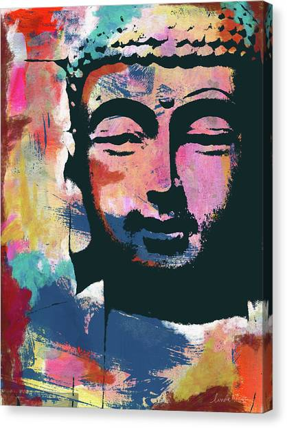 Serenity Prayer Canvas Print - Colorful Buddha 2- Art By Linda Woods by Linda Woods