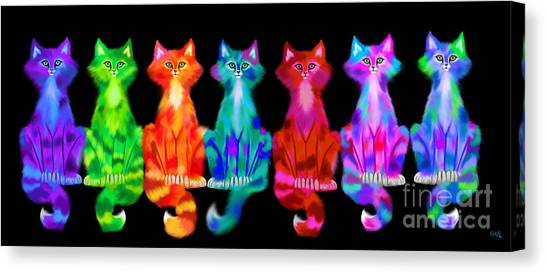 Canvas Print - Colorful Calico Cats by Nick Gustafson