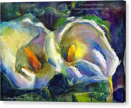 Watercolor Canvas Print - Colorful Calla Flowers Painting By by Svetlana Novikova