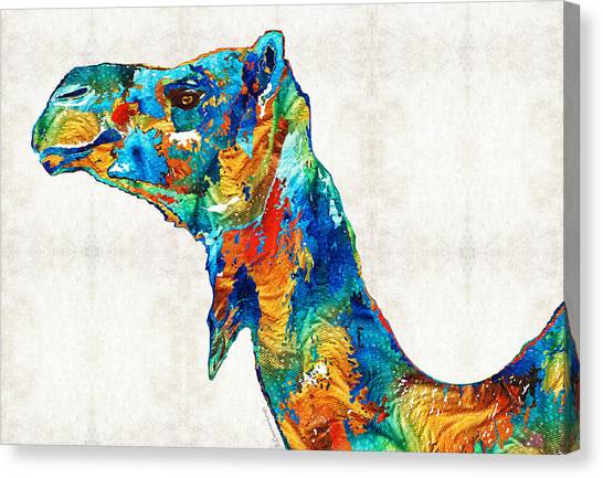 Camels Canvas Print - Colorful Camel Art By Sharon Cummings by Sharon Cummings