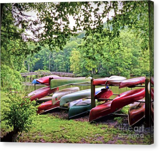 Colorful Canoes At Hungry Mother State Park Canvas Print