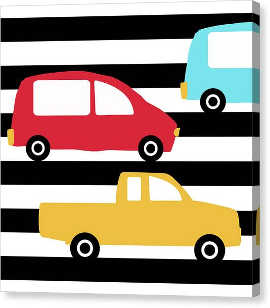 Driving Canvas Print - Colorful Cars- Art By Linda Woods by Linda Woods