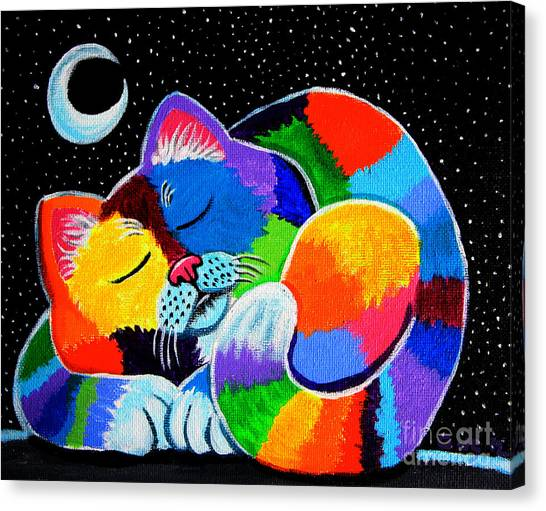 Colorful Cat In The Moonlight Canvas Print