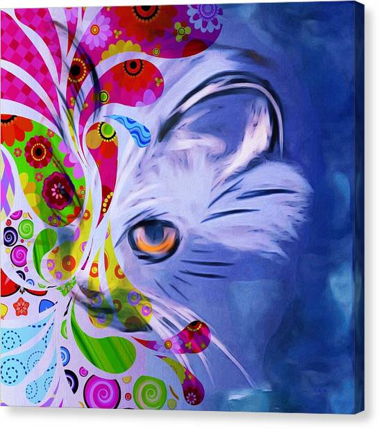 Colorful Cat World Canvas Print