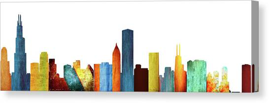 Aerial View Canvas Print - Colorful Chicago Skyline by Art Spectrum