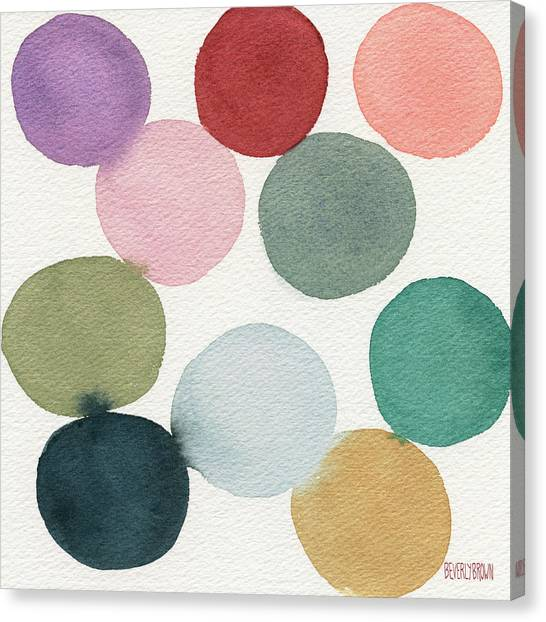 Earth Canvas Print - Colorful Circles Abstract Watercolor by Beverly Brown