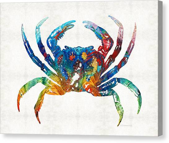 Seafood Canvas Print - Colorful Crab Art By Sharon Cummings by Sharon Cummings