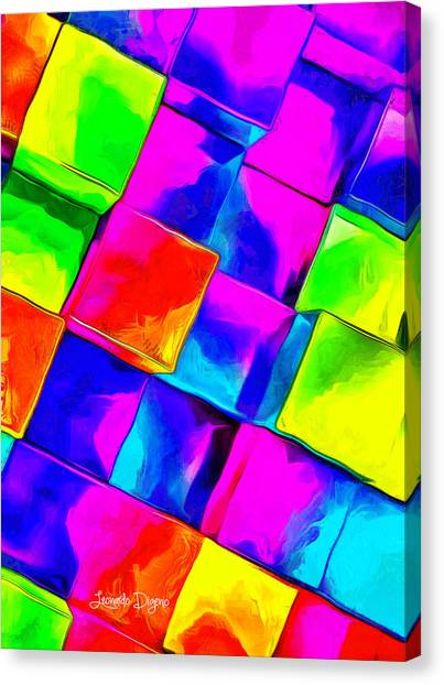 Rainbow Six Canvas Print - Colorful Cubes - Da by Leonardo Digenio