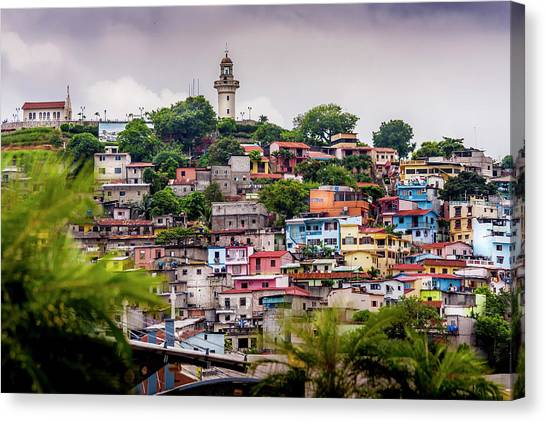Colorful Houses On The Hill Canvas Print