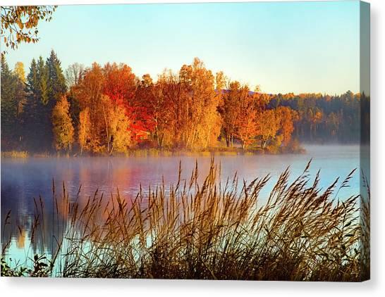 Colorful Dawn On Haley Pond Canvas Print