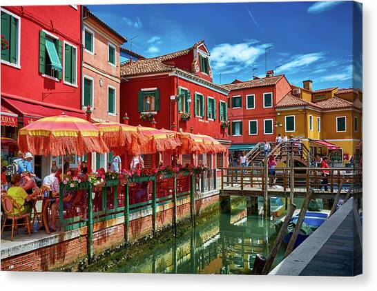 Colorful Day In Burano Canvas Print