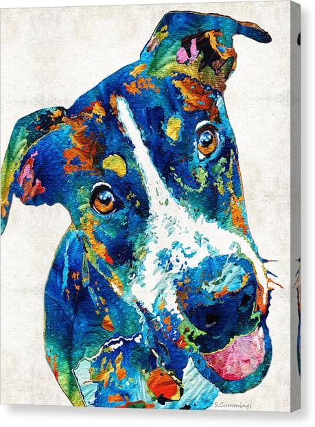 Canvas Print featuring the painting Colorful Dog Art - Happy Go Lucky - By Sharon Cummings by Sharon Cummings