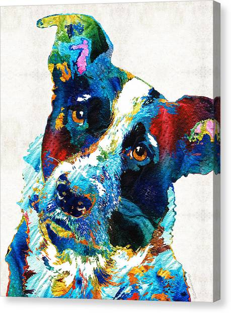 Border Collies Canvas Print - Colorful Dog Art - Irresistible - By Sharon Cummings by Sharon Cummings
