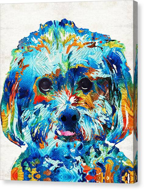 Shih Tzus Canvas Print - Colorful Dog Art - Lhasa Love - By Sharon Cummings by Sharon Cummings