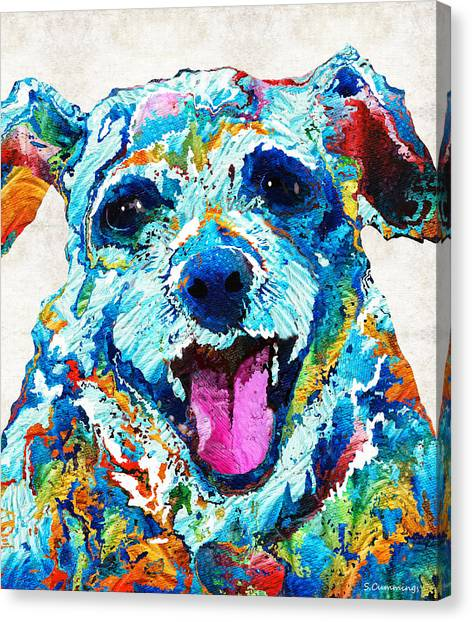 Shih Tzus Canvas Print - Colorful Dog Art - Smile - By Sharon Cummings by Sharon Cummings