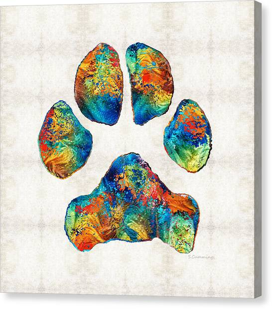 Honor Canvas Print - Colorful Dog Paw Print By Sharon Cummings by Sharon Cummings