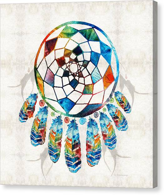 Catchers Canvas Print - Colorful Dream Catcher By Sharon Cummings by Sharon Cummings