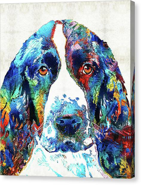 Springer Spaniel Canvas Print - Colorful English Springer Spaniel Dog By Sharon Cummings by Sharon Cummings
