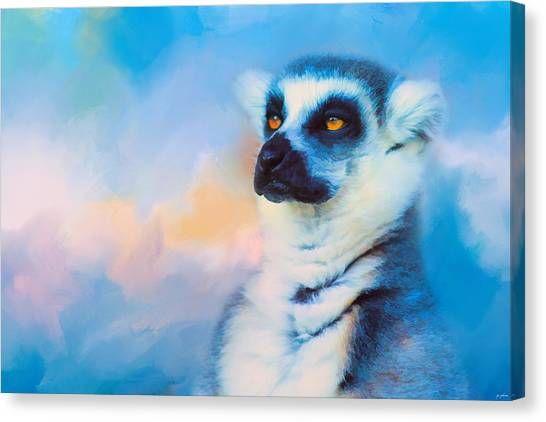 Ring Tailed Lemurs Canvas Print - Colorful Expressions Lemur by Jai Johnson