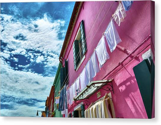 Colorful Facade With Laundry In Burano Canvas Print