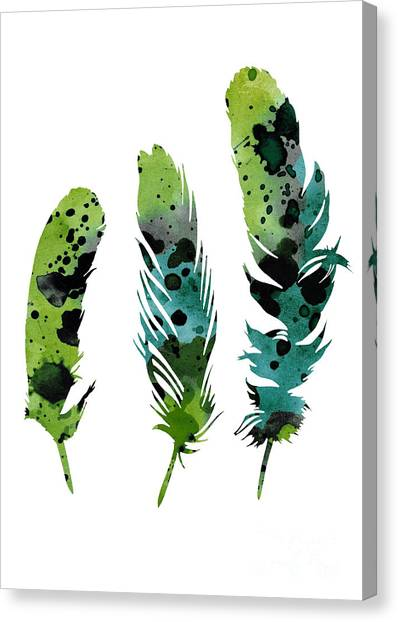 Birthday Canvas Print - Colorful Feathers Minimalist Painting by Joanna Szmerdt