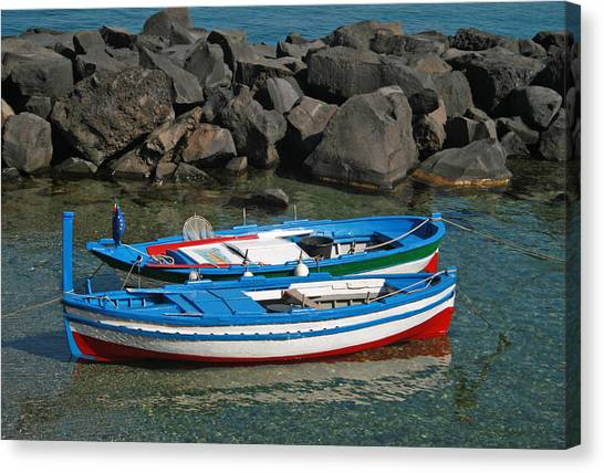 Colorful Fishing Boats Canvas Print by Chuck Wedemeier