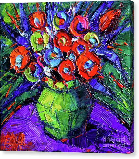 Post-modern Art Canvas Print - Colorful Flowers On Round Purple Table by Mona Edulesco