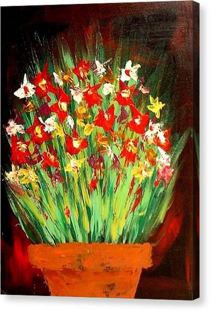 Colorful Flowers Canvas Print by Teo Alfonso