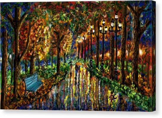 Canvas Print featuring the digital art Colorful Forest by Darren Cannell