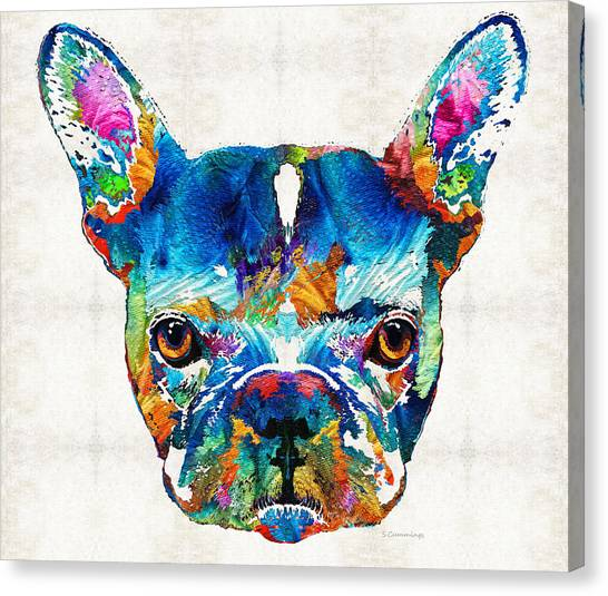 French Bull Dogs Canvas Print - Colorful French Bulldog Dog Art By Sharon Cummings by Sharon Cummings