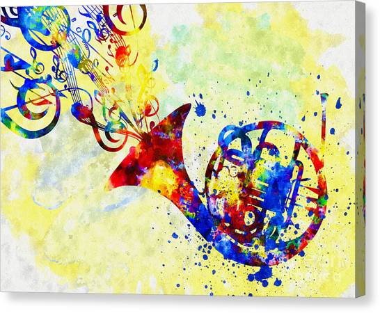 Colorful French Horn Canvas Print