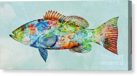 Colorful Gag Grouper Art Canvas Print