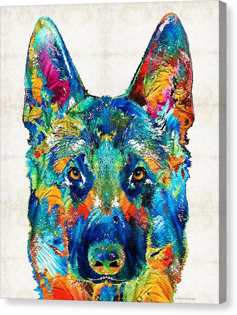 German Shepherds Canvas Print - Colorful German Shepherd Dog Art By Sharon Cummings by Sharon Cummings