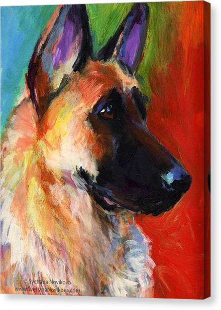 Portrait Canvas Print - Colorful German Shepherd Painting By by Svetlana Novikova