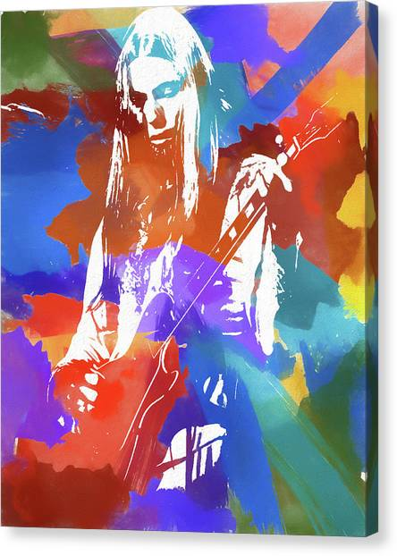 The Allman Brothers Canvas Print - Colorful Gregg Allman by Dan Sproul
