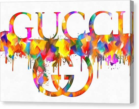 Colorful Gucci Paint Splatter Canvas Print