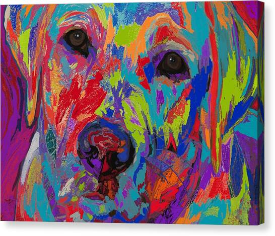Yellow Labrador Canvas Print - Colorful Heart by Patti Siehien