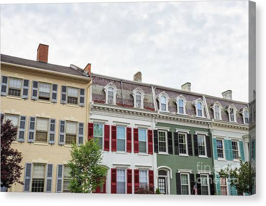 Lake Geneva Canvas Print - Colorful Historic Row Houses by Edward Fielding
