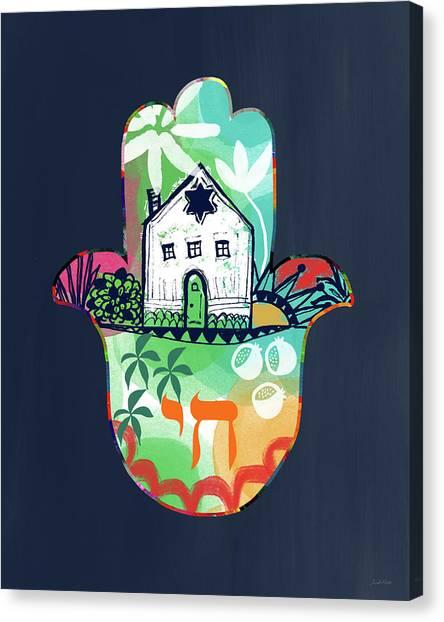 Wedding Canvas Print - Colorful Home Hamsa- Art By Linda Woods by Linda Woods