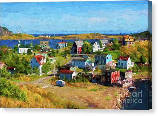 Colorful Homes In Trinity, Newfoundland - Painterly Canvas Print