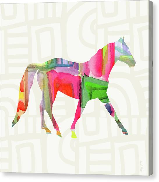 Ponies Canvas Print - Colorful Horse 1- Art By Linda Woods by Linda Woods